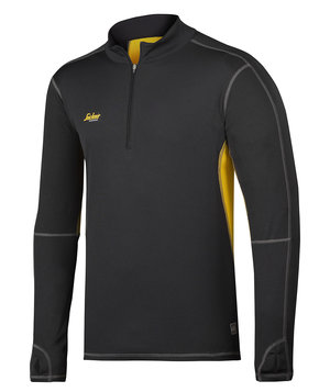 Snickers 37,5® Half-Zip long sleeve t-shirt , Black/Mustard