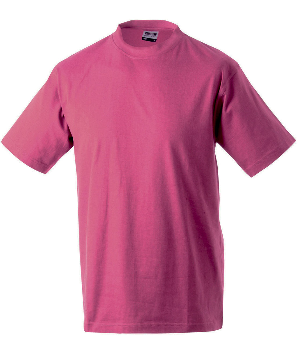 James & Nicholson T-shirt Round-T Heavy, 100% bomuld, Pink