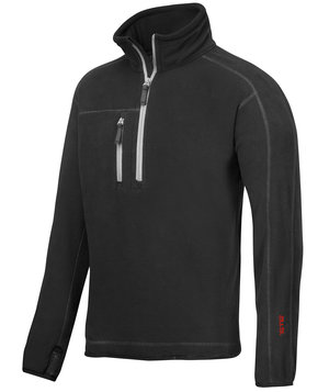 Snickers A.I.S. fleece sweater with short zipper, Black