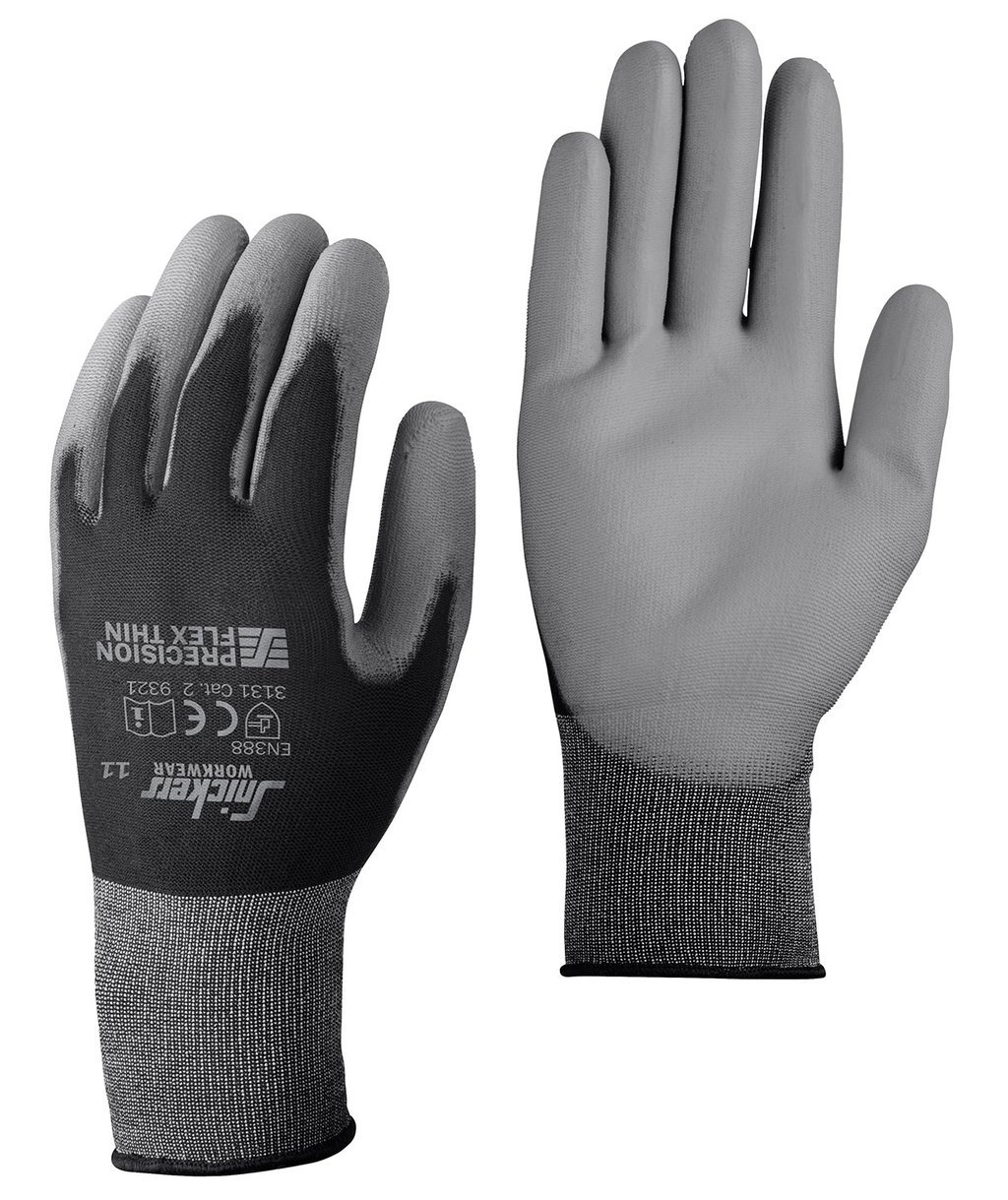 Snickers Precision Flex Light work gloves, Black/Stone Grey