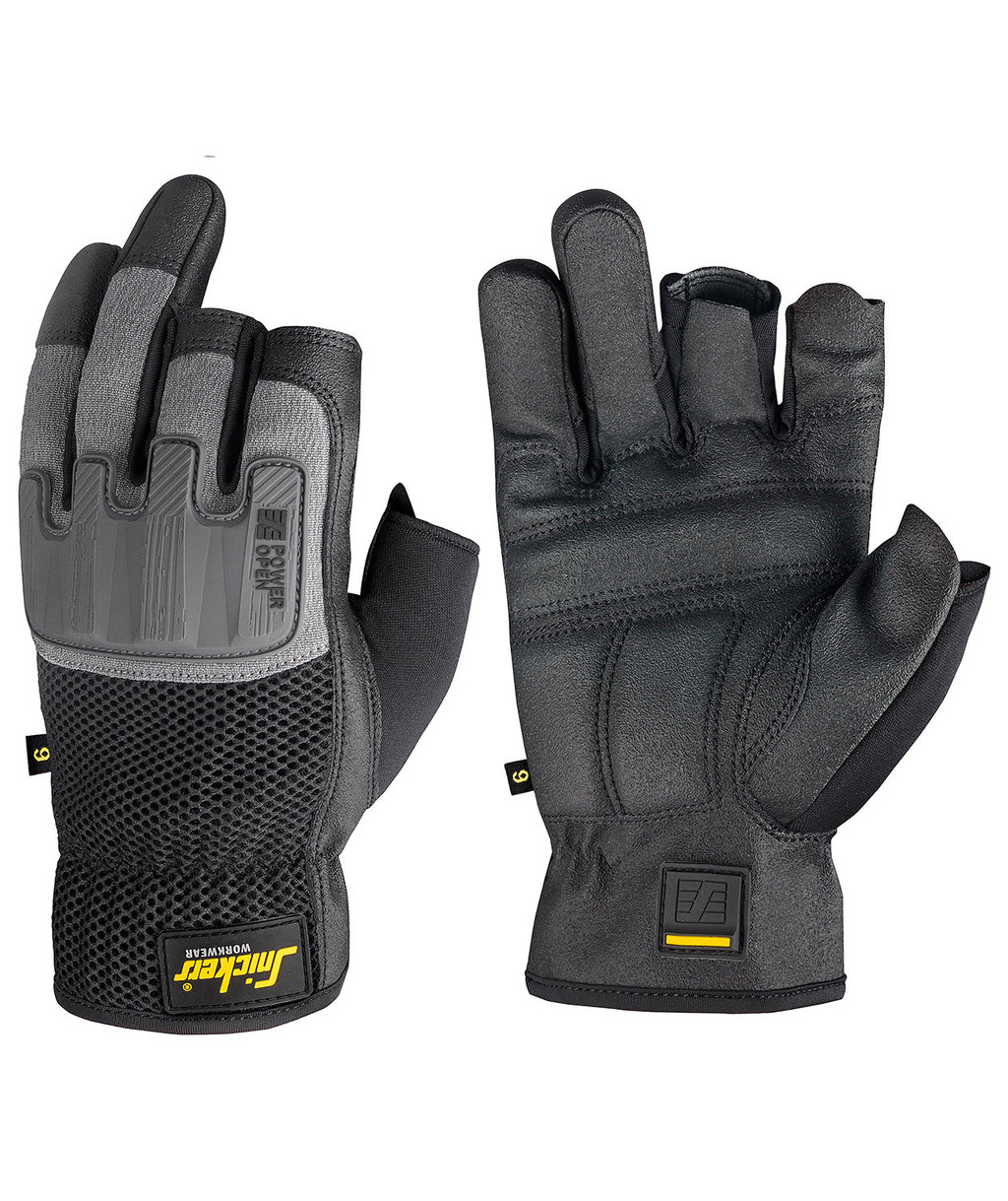 Snickers Power Open work gloves, Black/Stone Grey