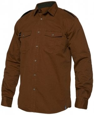 Workzone Explore twill work shirt, 100% cotton, Caramel/Brown