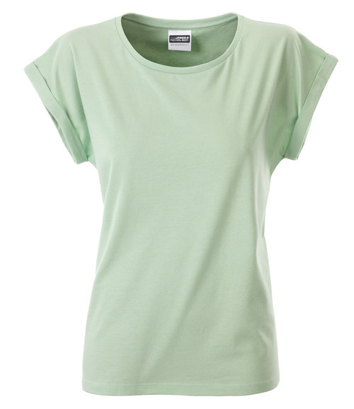 James & Nicholson Basic T-shirt dam, 100% ekologisk bomull, Soft-Green