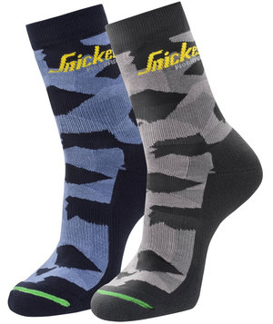 Snickers FlexiWork Camo socks 2-pack, Navy Camo/Grey Camo