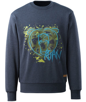 Mascot Advanced sweatshirt m. tryk, Mørkeblå denim, vasket