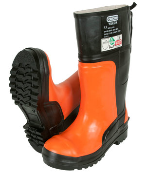 Oregon safety rubber boots with cut protection SB, Orange