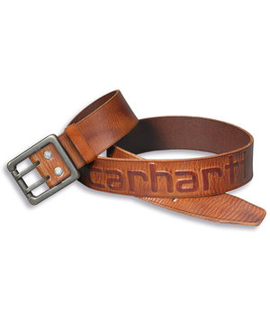 Carhartt leather belt with logo, Brown