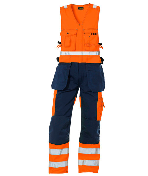 Blåkläder work one-piece trousers, Hi-Vis Orange/Marine Blue