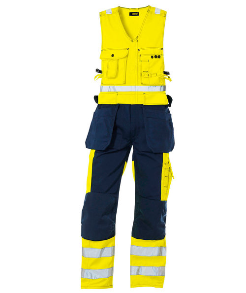 Blåkläder work one-piece trousers, Hi-Vis Yellow/Marine Blue