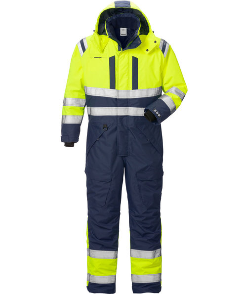 Fristads Airtech® thermal coverall 8015, Hi-Vis Yellow/Marine Blue