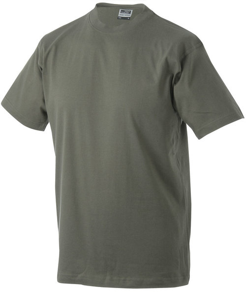 James & Nicholson T-shirt Round-T Heavy, 100% bomull, Olive
