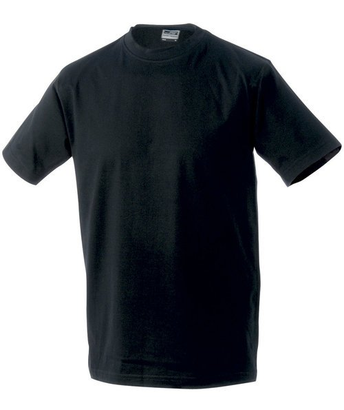 James & Nicholson T-shirt Round-T Heavy, 100% bomuld, Sort