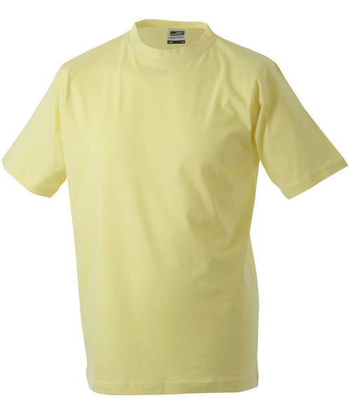 James & Nicholson T-skjorte Round-T Heavy, 100% bomull, Light-Yellow