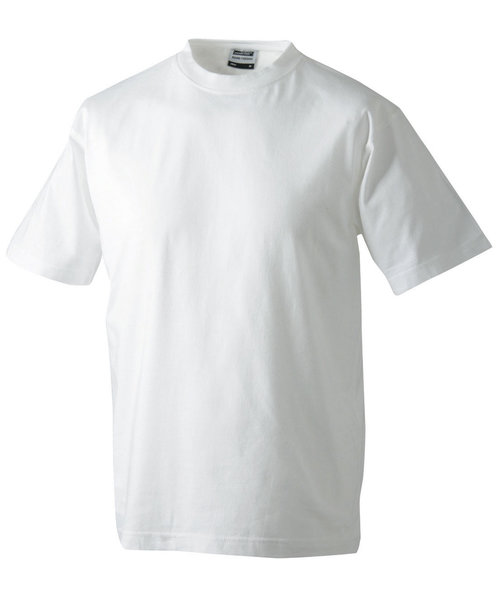 James & Nicholson T-shirt Round-T Heavy, 100% bomuld, Hvid