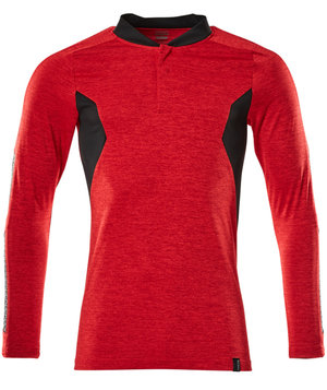 Mascot Accelerate Coolmax long-sleeved polo shirt, Traffic red/black