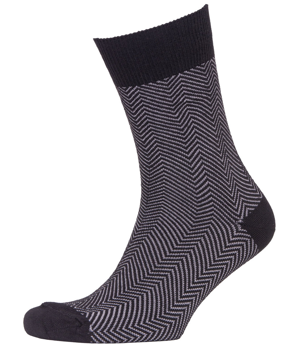 Claudio Fishbone bamboo socks, Black/Light Grey