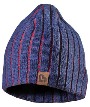 L.Brador knitted beanie 513A , Marine Blue/Red