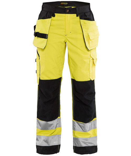 Blåkläder women's work trousers, Hi-Vis Yellow/Black