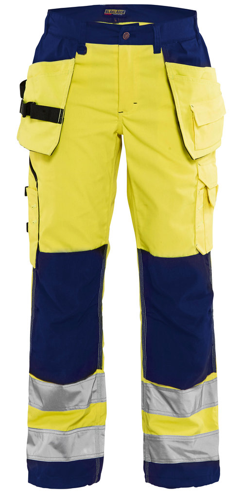 Blåkläder women's work trousers, Hi-Vis Yellow/Navy