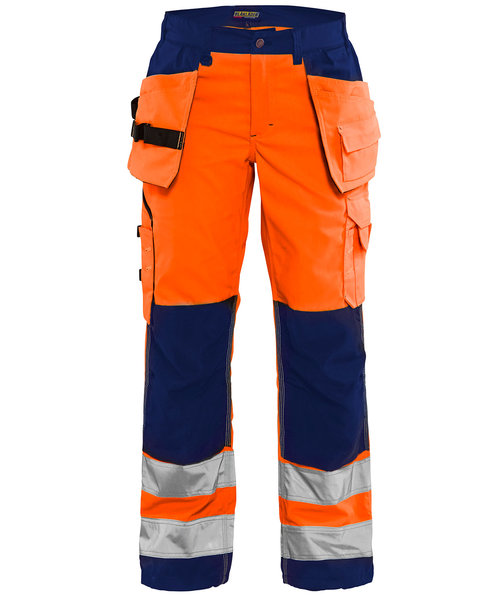 Blåkläder women's work trousers, Hi-Vis Orange/Marine Blue
