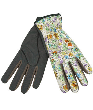 OX-ON Flower women's gardening gloves with flowerprint, Black/Green