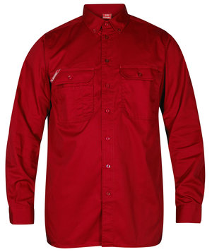FE Engel work shirt, long sleeved, Red
