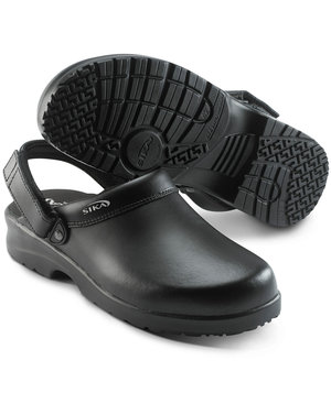 2nd quality Sika clog with heel strap, Black