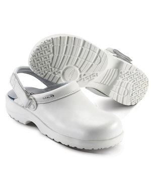 2nd quality product Sika fusion safety clogs with heel strap SB, White