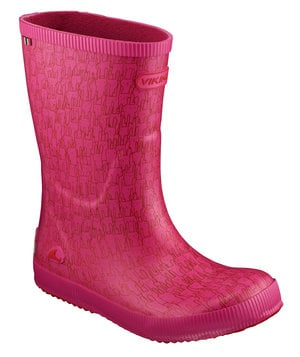 Viking Classic Indie Rabbit rubber boots for kids, Raspberry Red