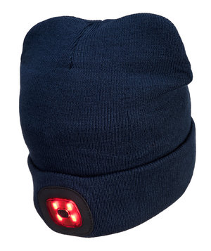 Portwest Twin LED stickad mössa med lampa fram och bak, Navy