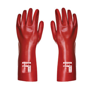 Portwest PVC protection gloves 35 cm, Red