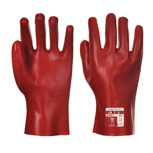 Portwest PVC protection gloves 27 cm, Red