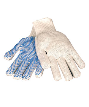 OX-ON Knit work gloves with dots, White