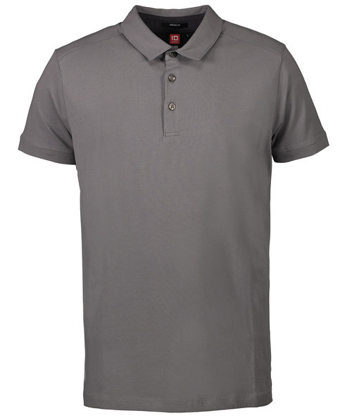 ID business polo med stretch, Silver Grey