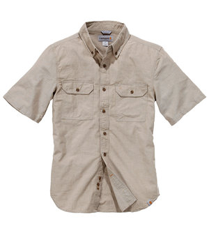 Carhartt skjorta Fort Solid kortärmad, Dark Tan Chambray