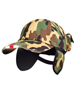 2nd quality product LEDitsee hunting cap with red/white LED-light, Camouflage
