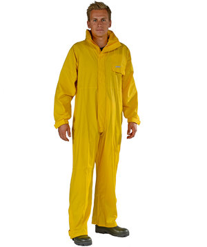 Ocean PU Comfort Stretch rain suit coverall, Yellow