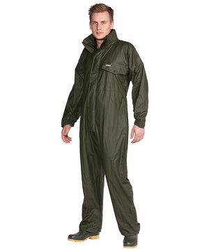 Ocean PU Comfort Stretch rain suit coverall, Olive Green