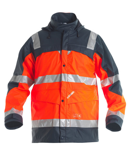 FE Engel Regenjacke, Hi-Vis Orange/Marine