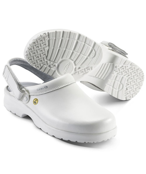 2nd quality product Sika fusion clogs with heel strap OB, White
