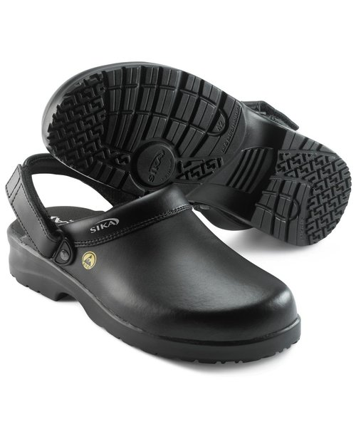 2nd quality product Sika fusion clogs with heel strap OB, Black