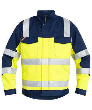 FE Engel work jacket, Hi-Vis Yellow/Marine Blue