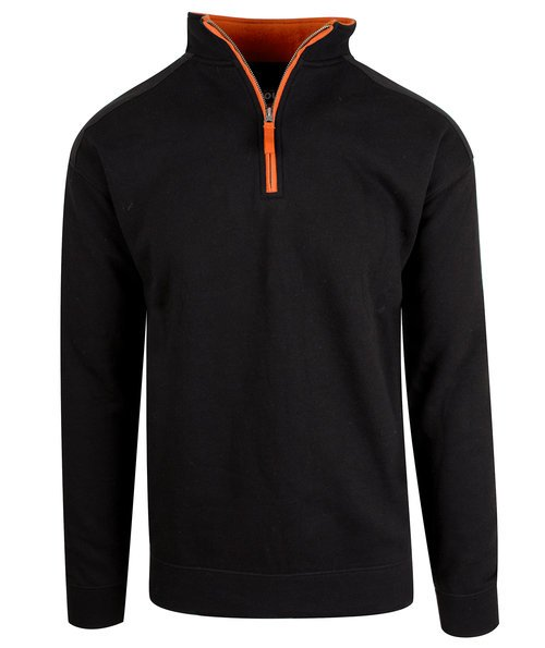 YOU Valdez unisex sweat med lynlås, Sort/Orange