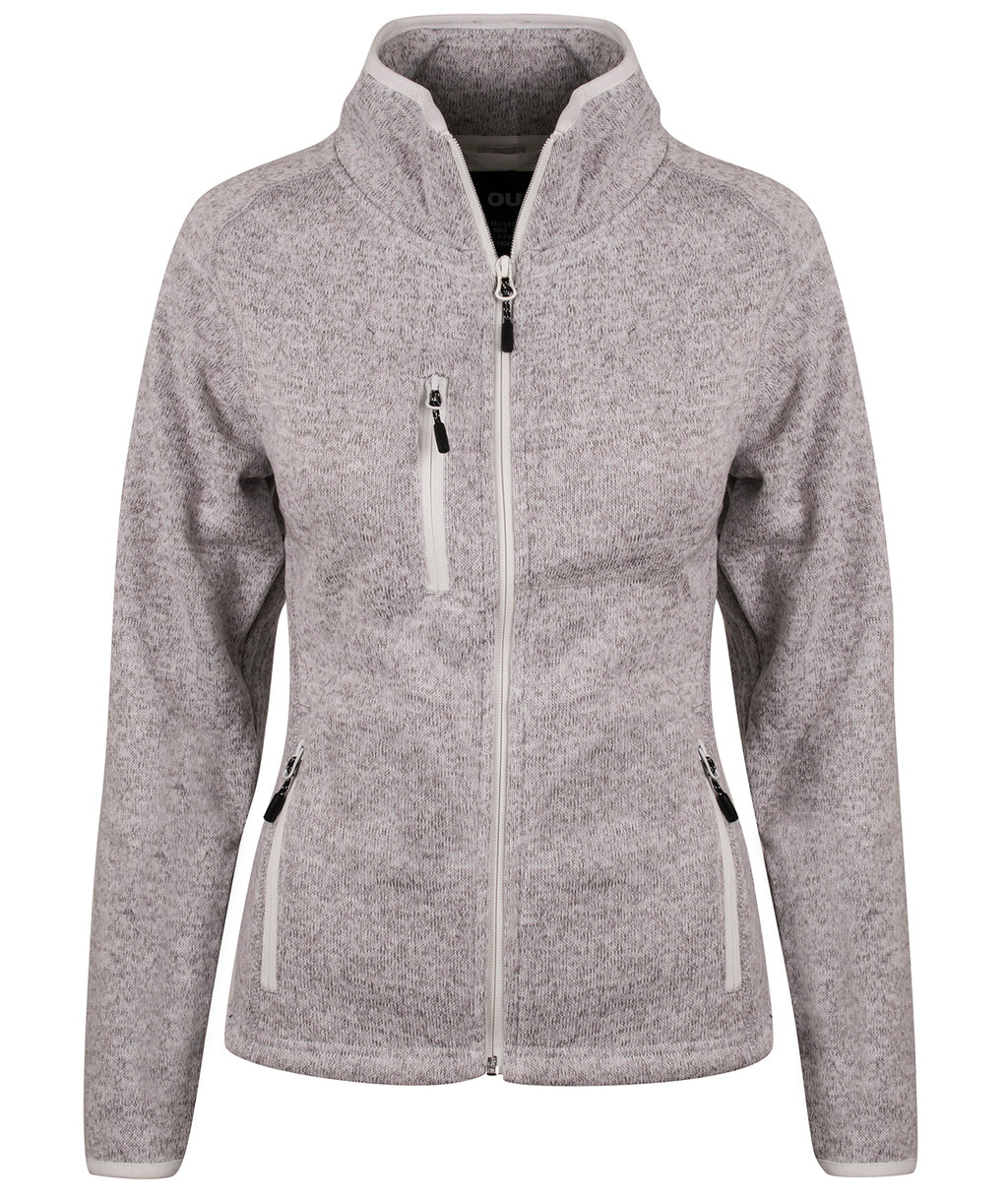 YOU Squaw valley women's knitted fleece, Lightgrey Melange/ White