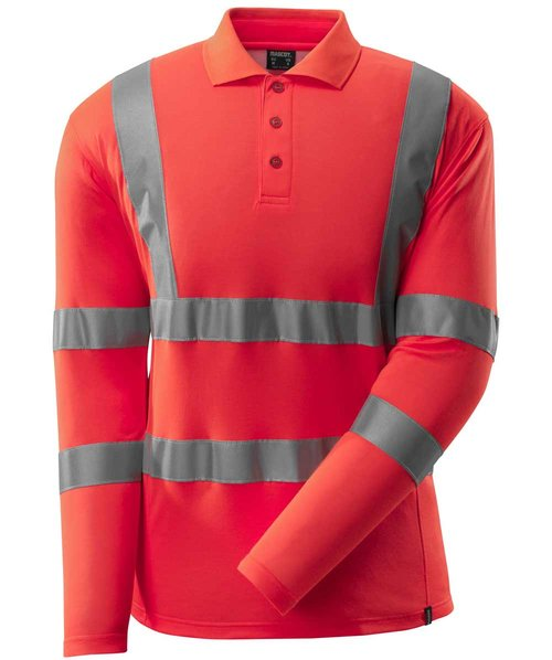 Mascot Safe Classic long-sleeved polo shirt, Hi-Vis Red