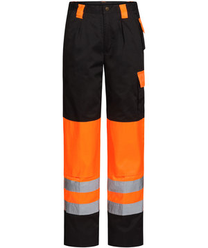 Bulldog Workwear arbejdsbukser, Sort/Hi-Vis Orange