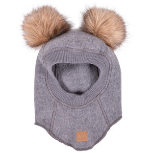Mikk-Line merino wool balaclava for kids, Grey Melange
