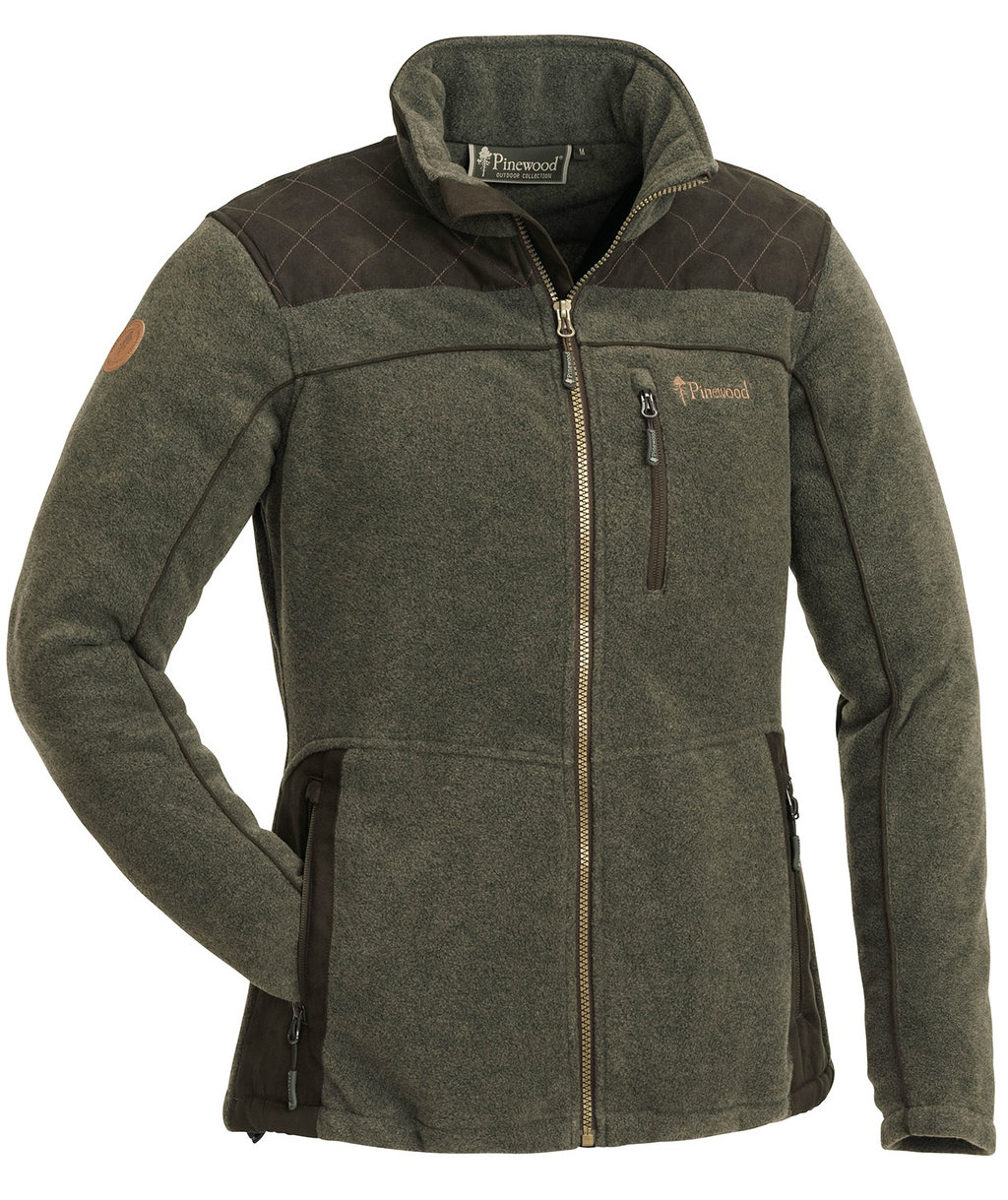Pinewood Diana women's fleece jacket, Olive Melange/Suede Brown