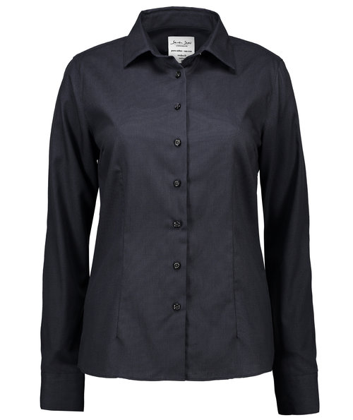 Seven Seas Dobby Royal Oxford dameskjorte - Modern fit, Koksgrå
