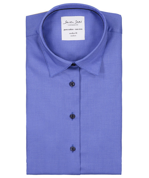 Seven Seas Dobby Royal Oxford dameskjorte - Modern fit, Fransk Blå